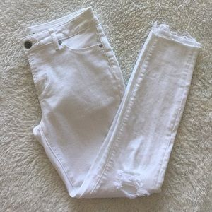Articles of Society Carly Skinny Crop White Jeans